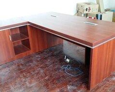 合肥黑浮雕色大班台老板桌免漆板经理桌25cm厚度板式电脑桌图片图片