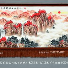 旭日东升聚宝盆国画挂画手绘挂毯风水好的客厅挂毯画中式风格客厅画图片