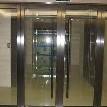 天津河北区供应不锈钢玻璃门//安装办公室玻璃隔断/玫瑰金玻璃门制作中心图片
