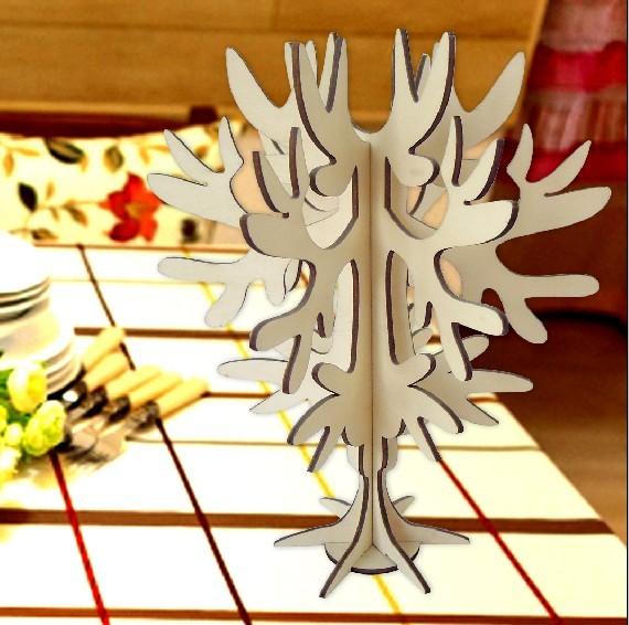 3d立体木质圣诞树摆件复古创意家居装饰手工diy木