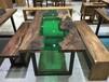 胡桃木玻璃款办公桌餐桌书桌展示柜台160-78-5