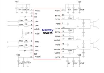 ns4225--25w双声道d类音频功放