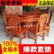 老榆木圓桌榆木餐桌椅組合中式仿古酒店桌電動大圓桌原廠直銷