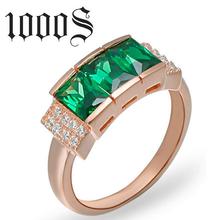 绿宝石戒指925银电镀金女戒唯美时尚戒指纯银戒指银饰品批发