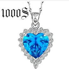 镶蓝彩锆经典海洋之心项坠项链批发