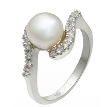 925纯银镶锆石戒指天然淡水珍珠戒指