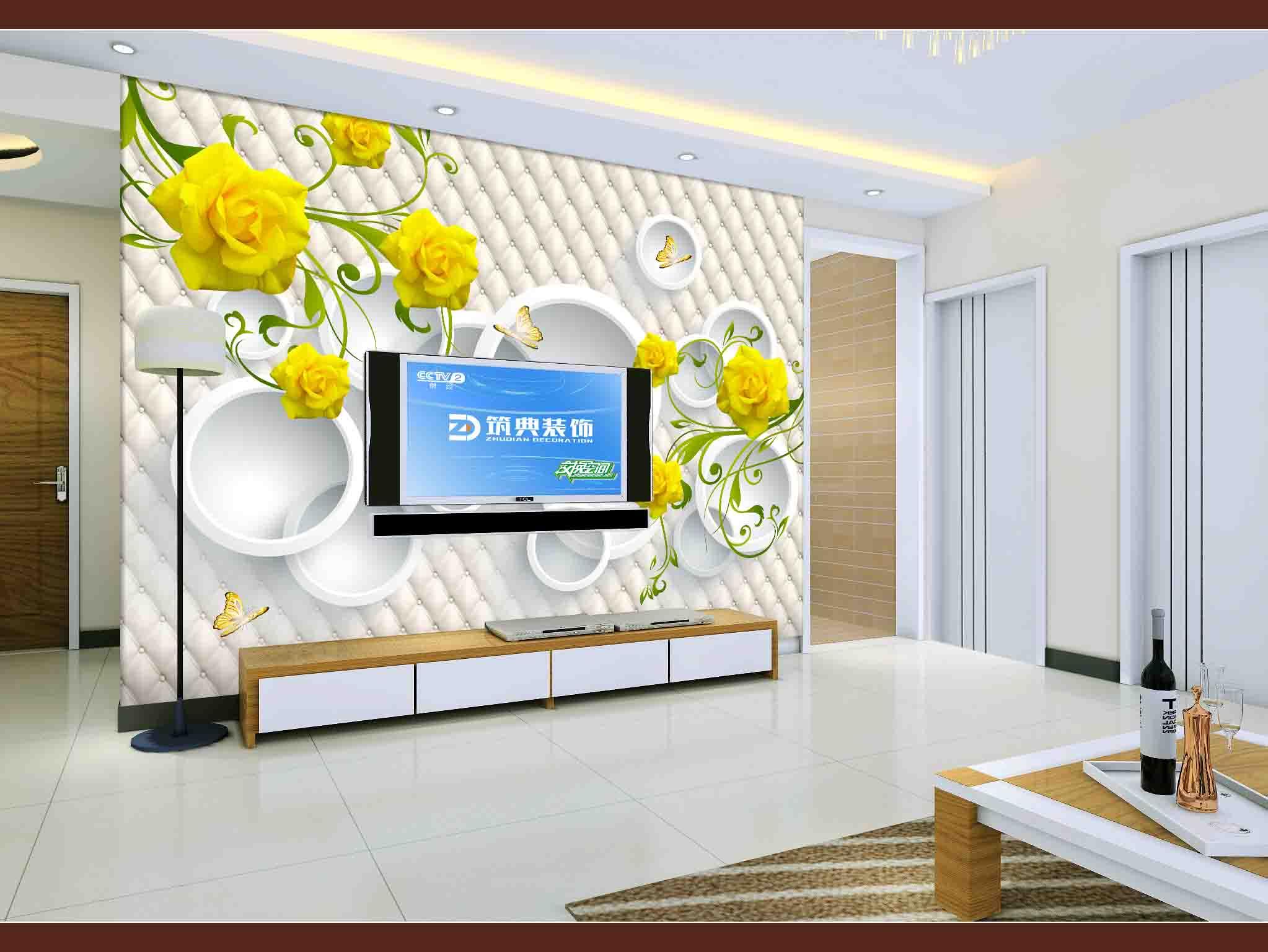 墙纸客厅卧室沙发电视背景墙壁画大型影视墙无缝墙布