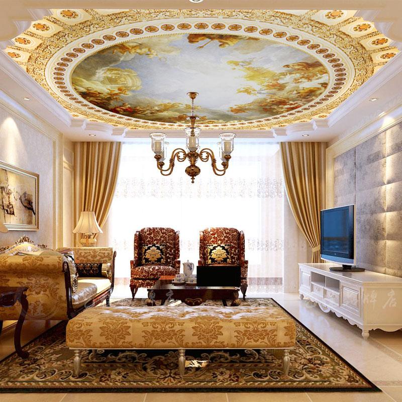 欧式奢华3d天花板墙纸客厅酒店吊顶无纺布壁纸大型