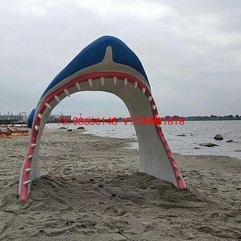 鲨鱼嘴拱门玻璃钢南鲸鱼头门头鲨鱼头造型门楼海洋族馆树脂卡通鲨鱼嘴牙齿门拱装饰雕塑