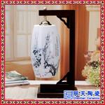 定制中式婚宴红釉陶瓷灯罩台灯礼品手绘红牡丹卧室床头灯图片