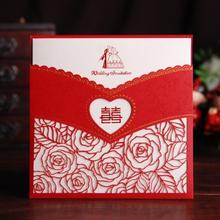 喜盈门厂家直销结婚喜帖高档玫瑰镂空请柬婚庆用品批发HK-8001图片