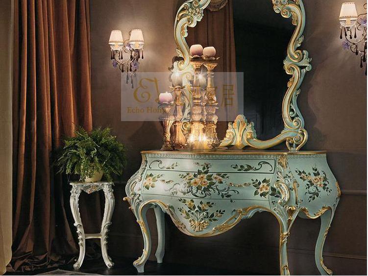 欧式实木手工雕花梳妆台斗柜古典手绘花朵玄关柜乡村风格