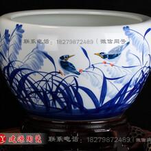 客厅庭院风水养鱼缸批发1米陶瓷缸价格景德镇高温瓷缸厂家