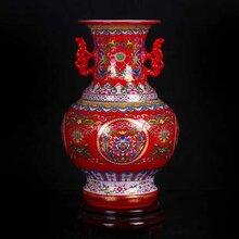 景德镇复古摆件花瓶双耳装饰花瓶图片珐琅彩花瓶价格家居装饰小花瓶厂家