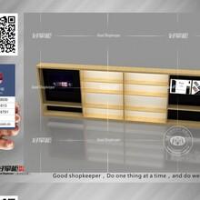 木纹苹果挂墙配件柜图片华为手机柜台厂家制作图片