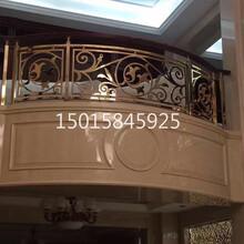 郑州酒店大堂钛金铝板镂空雕花旋转楼梯护栏厂家图片