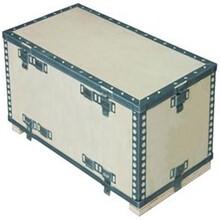 山东厂家定制圆孔钢带箱钢边箱可拆卸木箱可印刷精美唛头