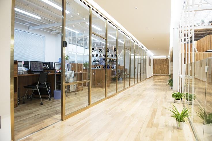 办公室彩色不锈钢玻璃隔断定做安装杭州莫戈金属定制
