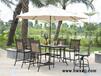 铸铝户外桌椅七件套,欧式铁艺餐桌椅,瓷砖吧台桌椅
