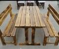 实木炭烧桌椅火锅桌子四方桌大圆桌大排档餐桌碳烧椅子批发定制