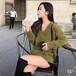 流行针织女装批发新款V领修身高弹打底针织衫批发中长款套头针织毛衫