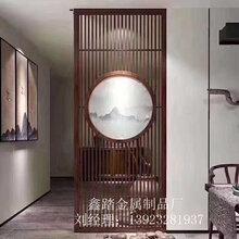 售楼中心不锈钢隔断定制中式金属仿古铜花格镂空雕花效果图图片