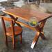 品艺美式乡村loft复古餐桌椅,长方形餐桌碳化木餐桌价格实木餐桌批发价