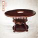 实木火锅桌中间开孔带底盘圆形实木桌椅碳化餐厅家具订做批发