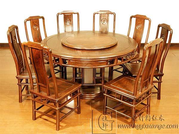 红木圆餐桌,实木餐桌椅,中式红木餐厅家具,逸轩阁红木家具图片