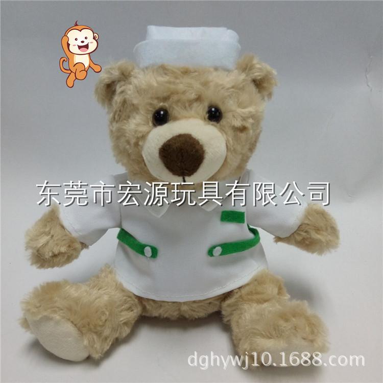 专业生产定制新奇创意玫瑰绒毛绒玩具医生护士泰迪熊公仔