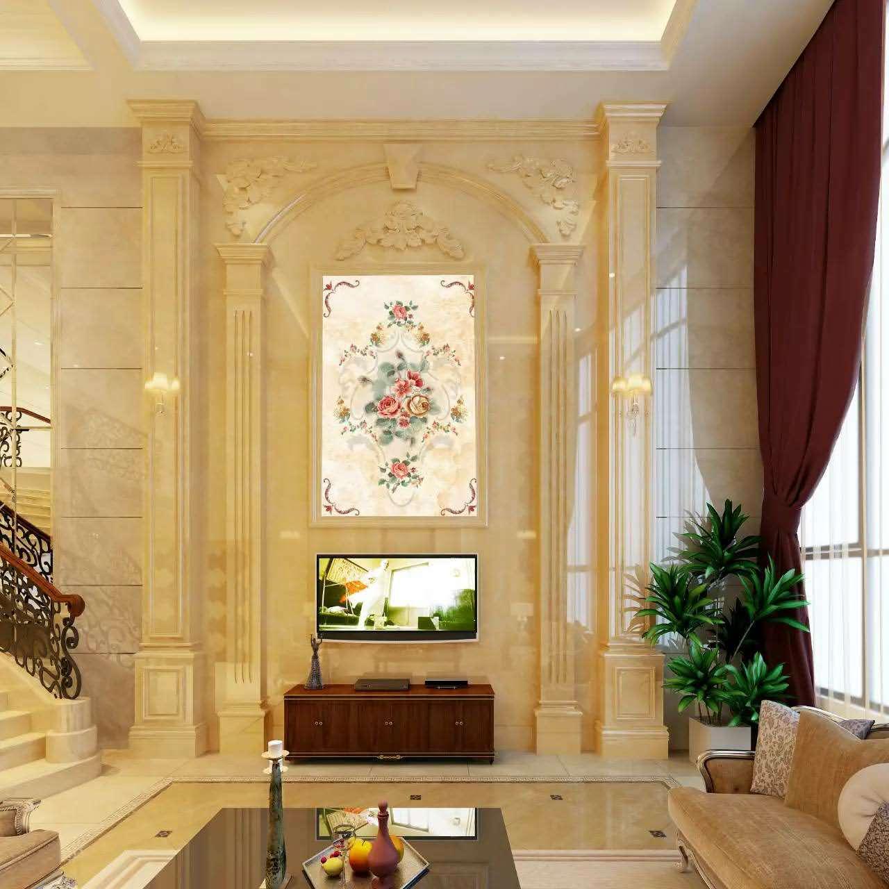 天然大理石背景墙欧式中式罗马柱电视墙沙发墙