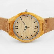 热销竹子真皮带木头手表情侣款式竹子石英手表时尚檀木款式表