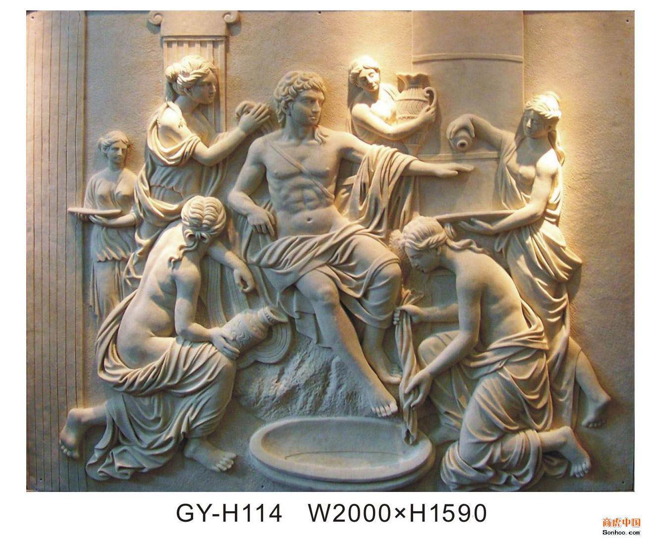 人物浮雕酒店会所欧式室内装饰壁画雕塑背景墙雕塑