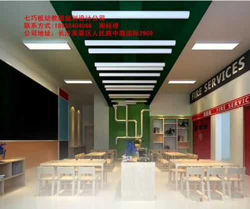 长沙株洲高档幼儿园装饰设计,幼儿园大厅装修设计七巧板幼教园设计