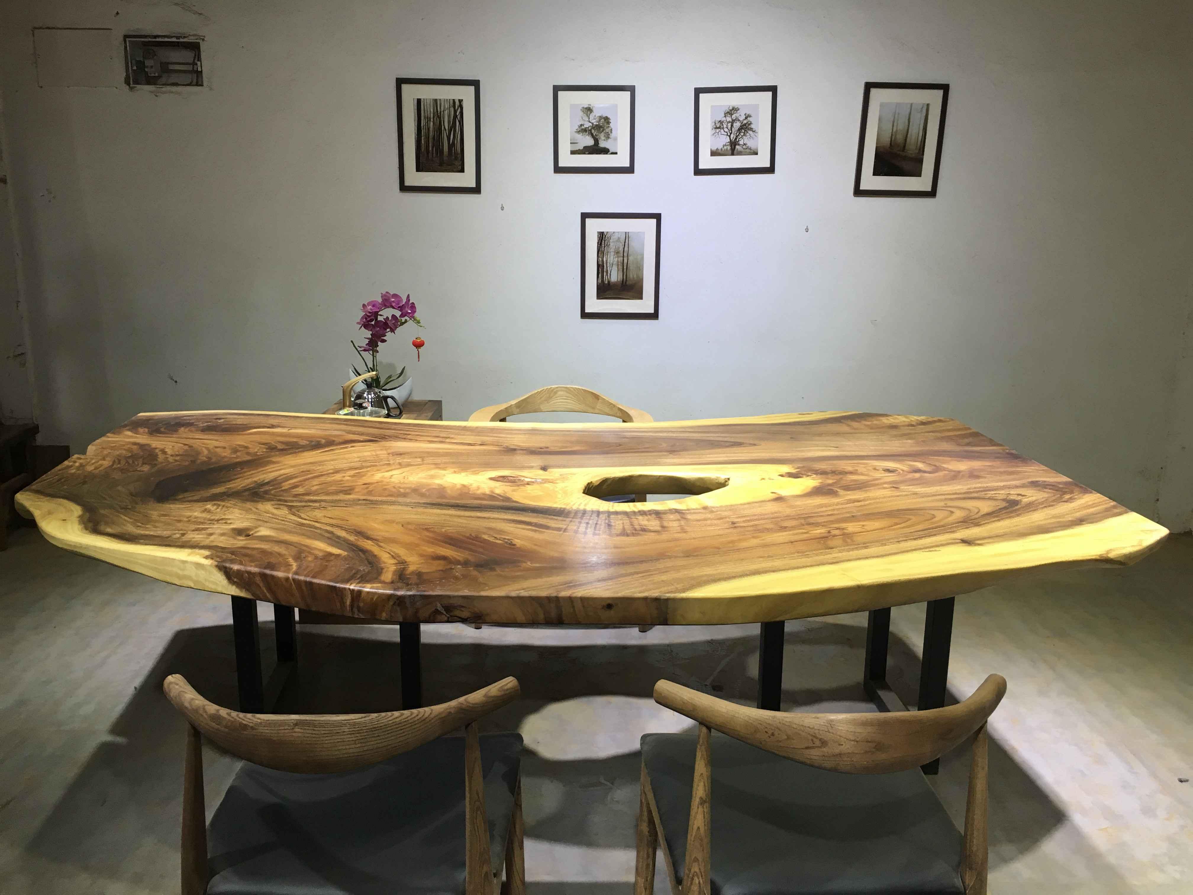 天然造型南美胡桃木大板桌现代简约欧式办公桌书桌