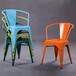 金丰铁艺餐椅休闲咖啡厅椅子复古电脑靠背圈椅彩色金属铁皮海军椅
