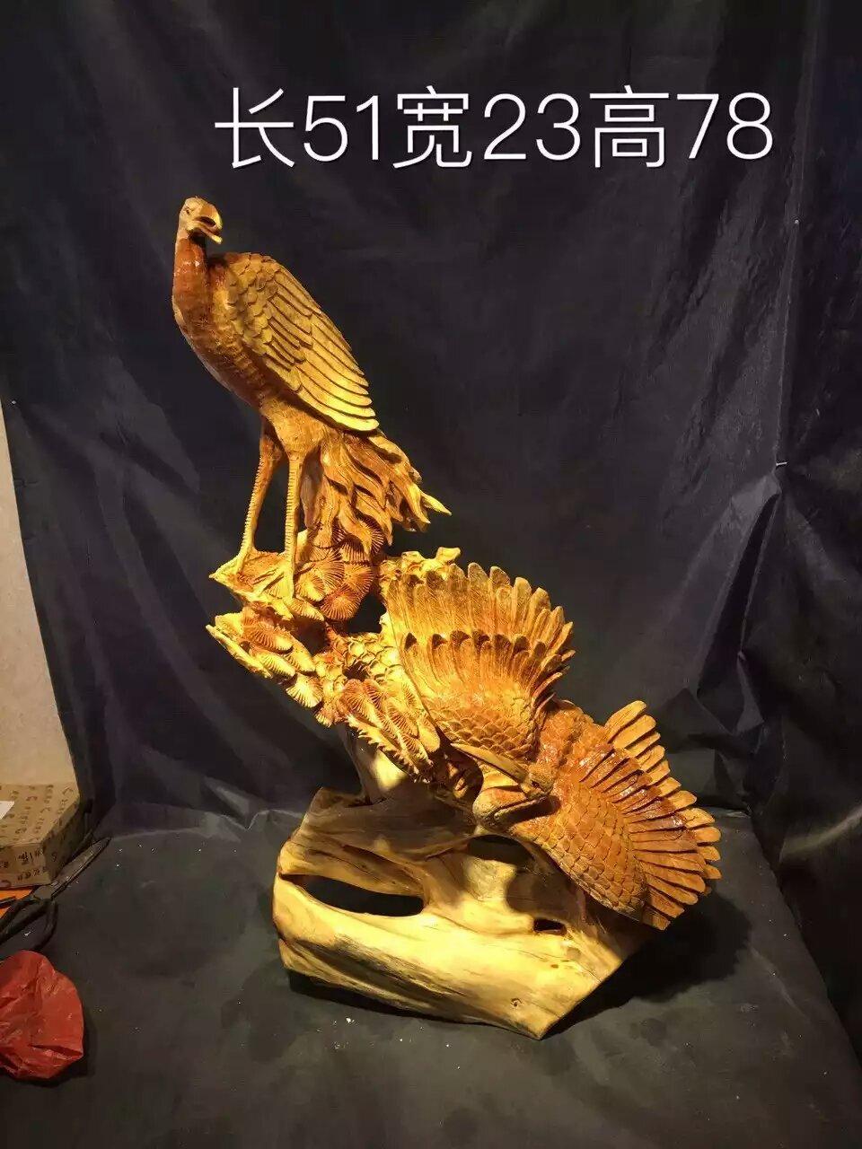 仙鹤鸟动物树根雕摆件送人木质工艺品客厅整块原木