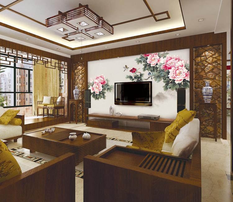 家庭装修背景墙效果图花开富贵英仑壁画