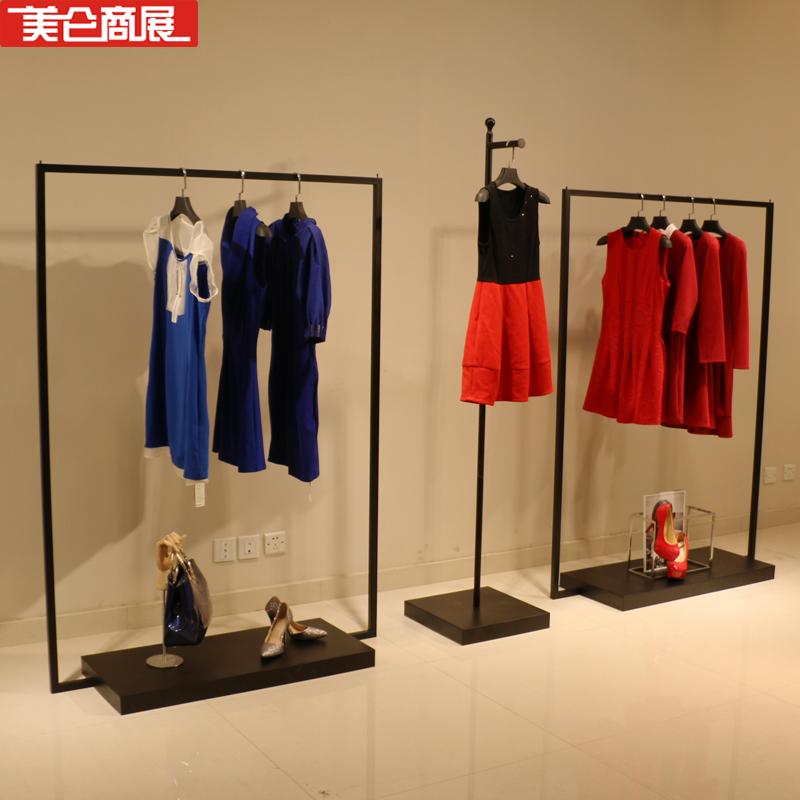 杭州美奂商展供应黑色铁艺服装展示架正挂侧挂架组合