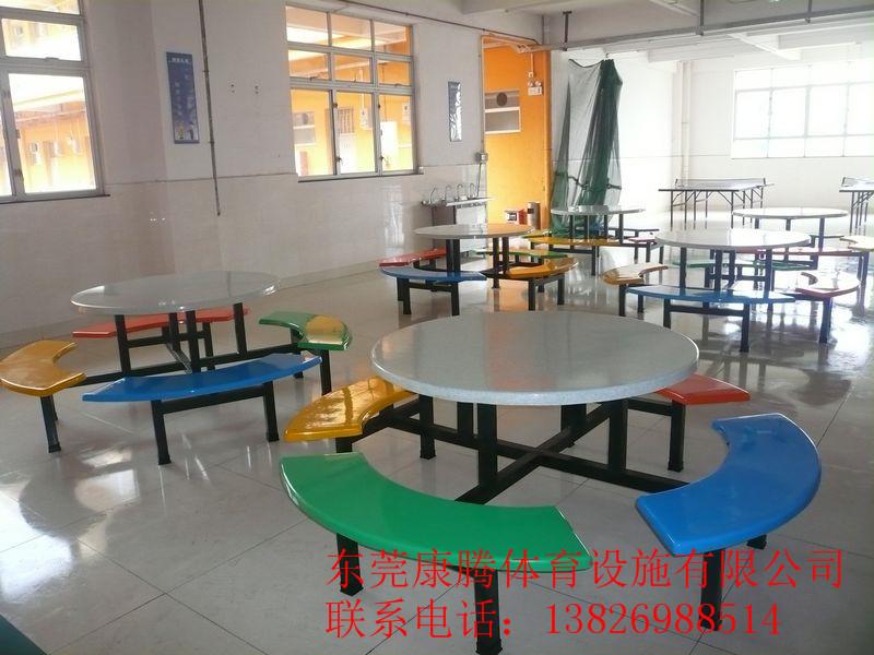 食堂圆餐桌椅组合学生餐桌员工八人位餐桌椅子尺寸颜色可定制图片
