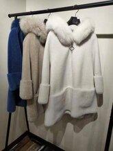 静扬原创19年新款水貂毛领狐狸毛领颗粒羊剪绒女装大衣货源批发进货