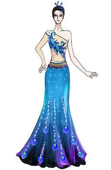 傣族女孔雀女羽毛演出服装定制,经典民族舞蹈服装设计!