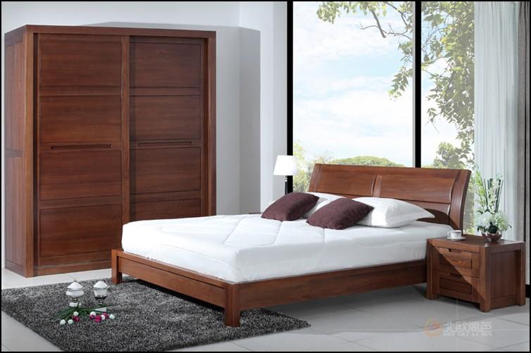 上海厂家定制实木床纯榆木卧室组合四门衣柜储物收纳柜