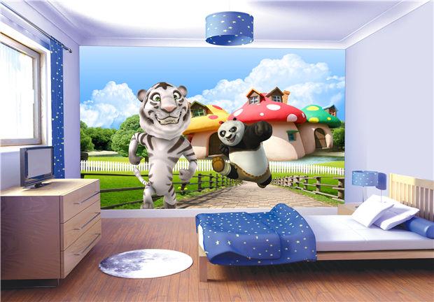 功夫熊猫会说话的汤姆猫可爱卡通壁画背景墙儿童房