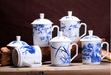 景德镇高白瓷茶杯定制青花过滤茶杯办公杯