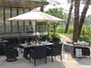 别墅酒店花园藤编桌椅房地产样板房瓷砖藤编一桌六椅组合