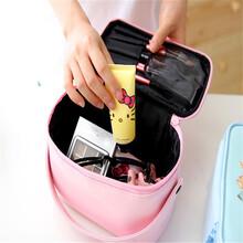 可爱女孩手提化妆品收纳箱大容量蝴蝶结圆筒收纳箱厂家定制批发中可弘世箱包定做化妆箱图片