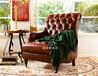 美若婳美式乡村单人老虎椅实木皮艺沙发新古典别墅客厅卧室书房