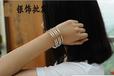 纯银批发S990纯银纯手镯韩版五环手镯明星款时尚女银手环