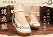 北京布鞋绣花鞋民族风布鞋搭扣坡跟浅口黑色女夏一件代发
